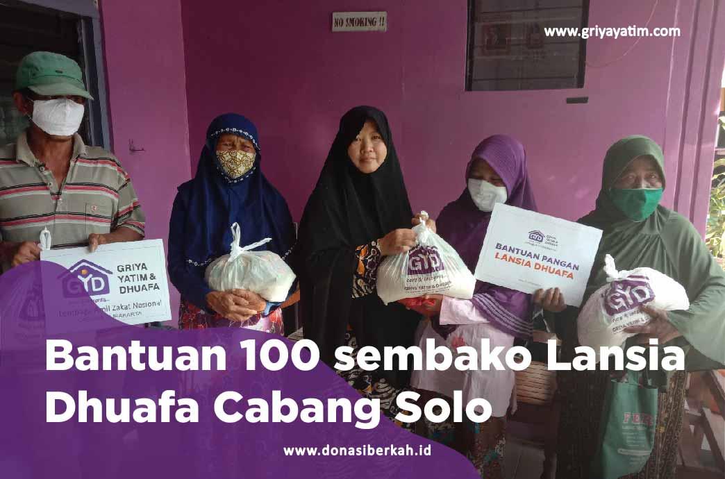 Bantuan 100 Sembako Lansia Dhuafa Cabang Solo