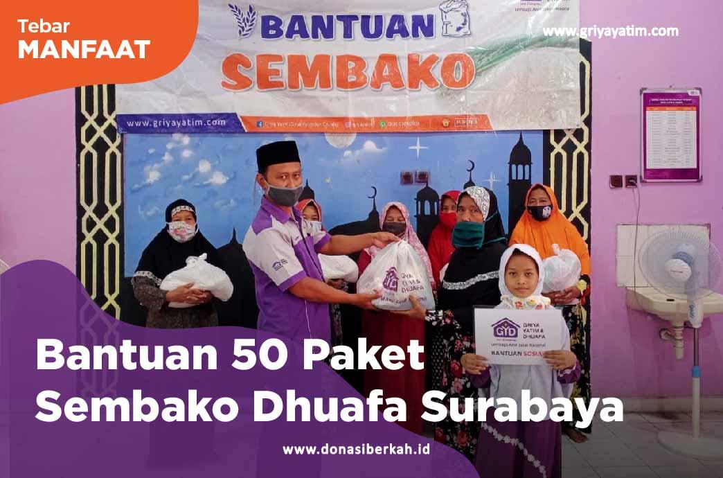 Bantuan 50 Paket Sembako Dhuafa Surabaya