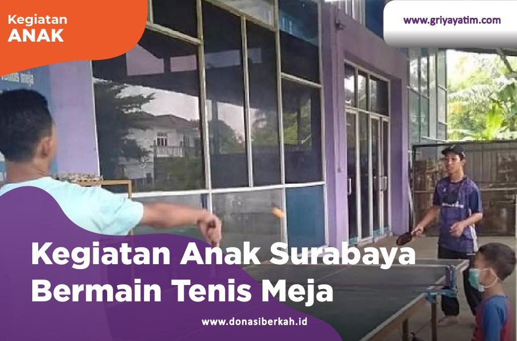 Kegiatan Anak Surabaya Bermain Tenis Meja